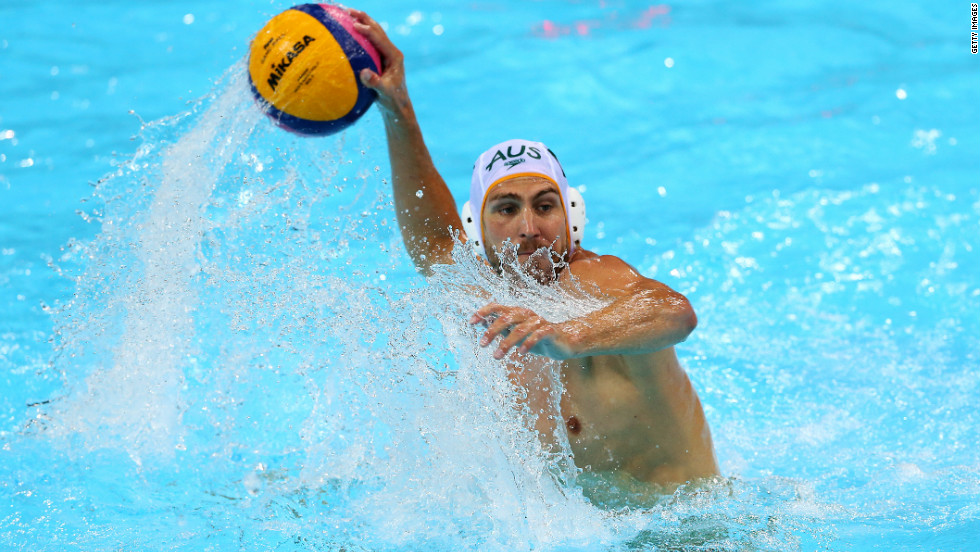 Australia's Rhys Howden looks to take a shot during a men's water polo preliminary round match against Kazakhstan on Tuesday.