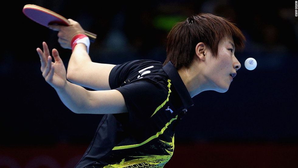 China's Ning Ding plays a forehand during a women's singles table tennis quarterfinal match on Tuesday.