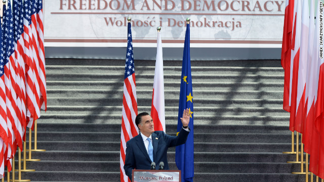 Republican presidential candidate Mitt Romney spoke in Warsaw during the final leg of his contentious overseas trip.