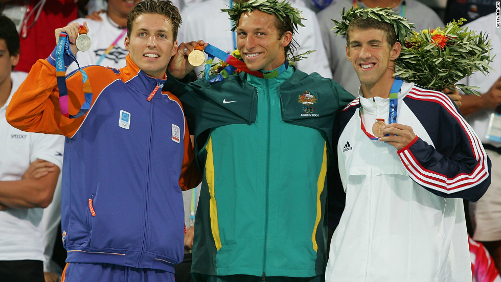 Phelps won six gold and two bronze medals in the 2004 Summer Games in Athens, Greece. Here, he holds a bronze from the 200-meter freestyle.