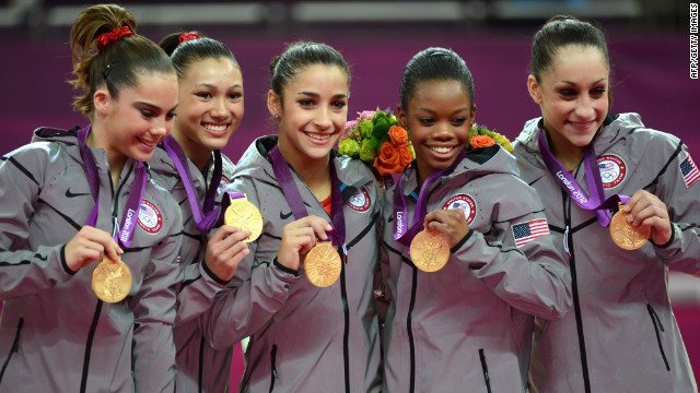 (From L) Gold medalist Team US Mckayla Maroney, Kyla Ross, Alexandra Raisman, Gabrielle Douglas and Jordyn Wieber celebrate in London Olympic Games 2012.