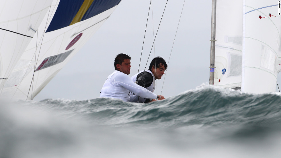 Fredrik Loof and Max Salminen of Sweden compete in the men's star sailing event.