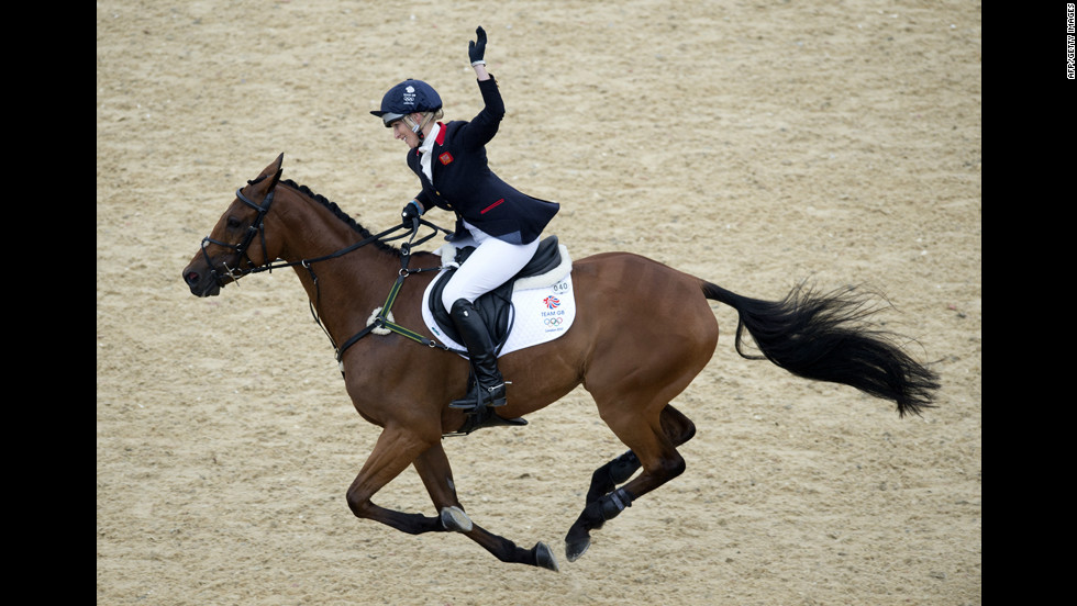 Zara Phillips, who is granddaughter of Britain's Queen Elizabeth, took part in her first Olympics riding High Kingdom.