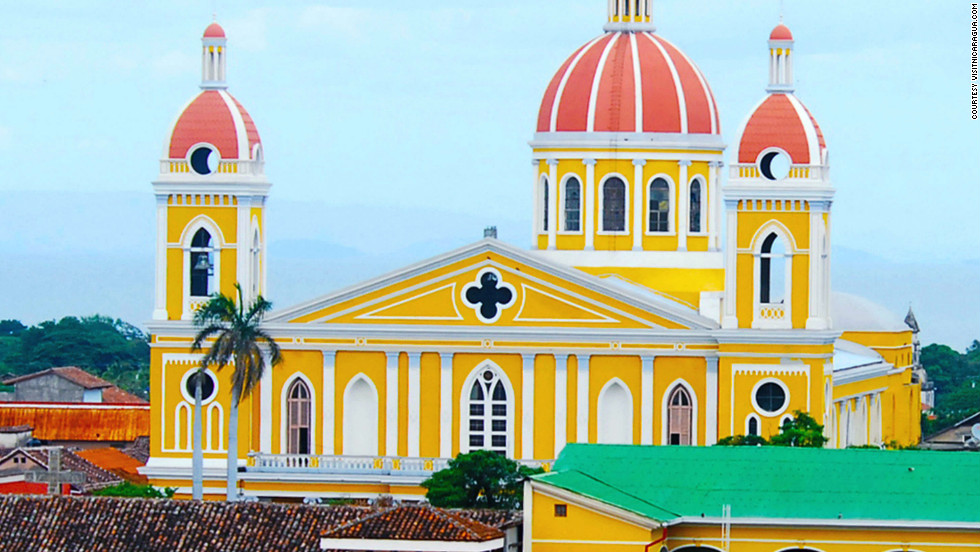 Granada, on the shores of Lake Nicaragua, draws visitors with its beautiful architecture.