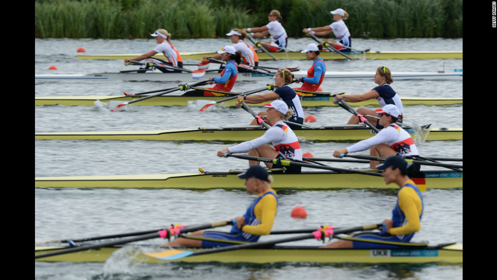 Teams from the Ukraine, Germany, the United States, China, the Netherlands and the Czech Republic compete Tuesday in the women's rowing double sculls in Windsor.