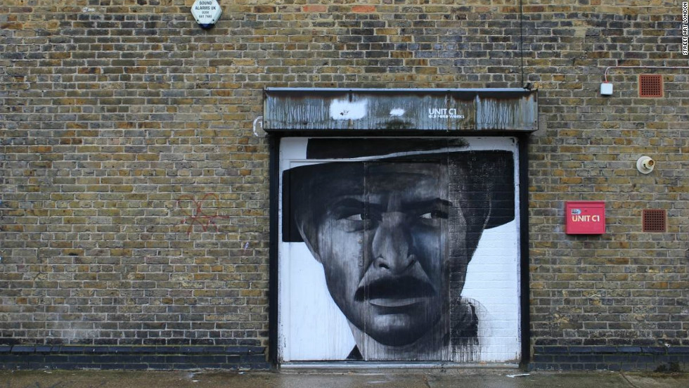 Ben Slow is a portrait artist whose work can be found on many East London streets, including this one on Stour Road, Hackney Wick.