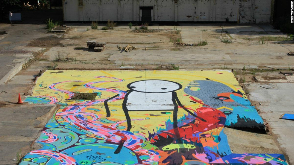 This collaborative piece between Stik, Milo Tchais and Prozak in Hackney Wick is now covered up by a hospitality tent.<br />
