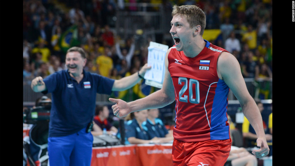 Russia's Alexey Obmochaev reacts in the men's preliminary volleyball match against Brazil.