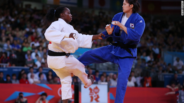 Judo -- there's something you don't see on your TV every day. Gevrise Emane of France vs. Da-Woon Joung of South Korea .