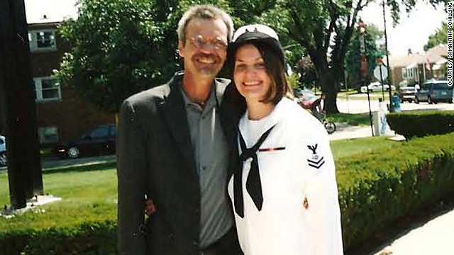 Samantha Schilling, with her father, lost several colleagues in the USS Cole bombing.