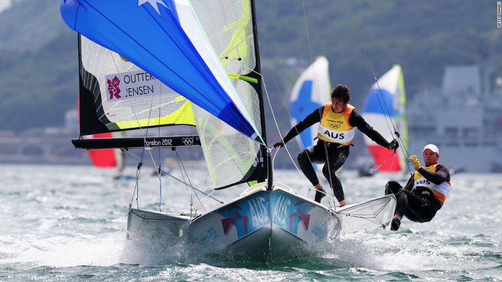 Nathan Outteridge, right, and Iain Jensen of Australia compete in the men's 49er sailing event in Weymouth, England.