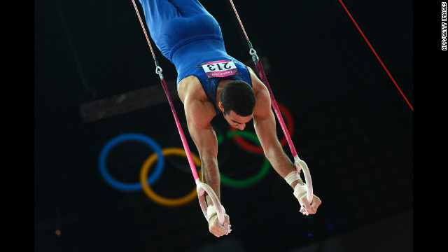 United States gymnast Danell Leyva performs on the rings during the Men's Individual All-Around Competition on Wednesday in London, England.