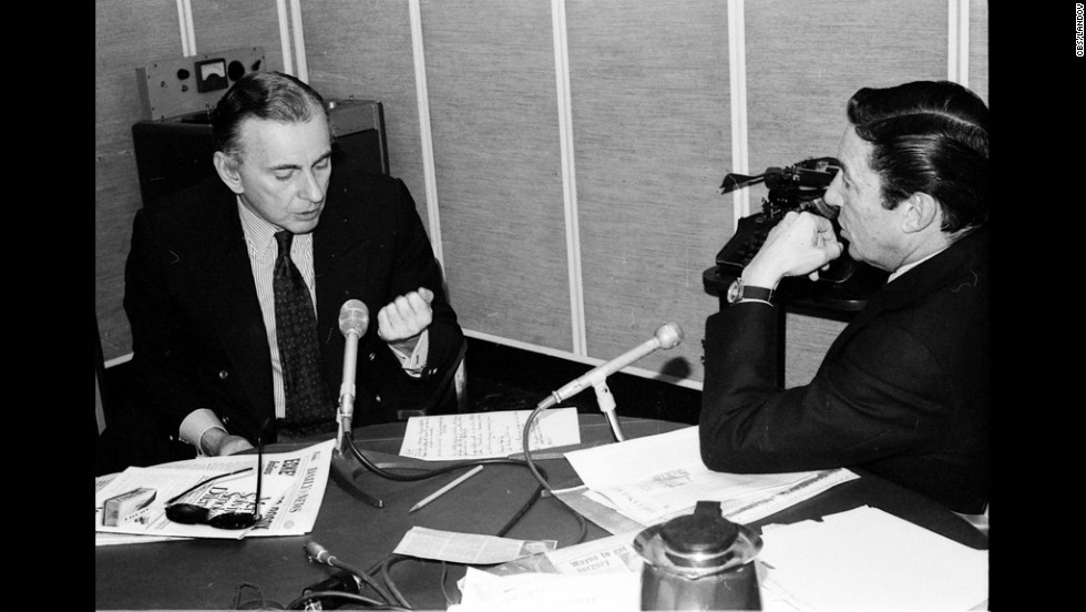"Vidal with Mike Wallace in the CBS newsroom in 1978. Vidal would refer to himself as a once-famous novelist relegated to going on television because people ""seldom read anymore."""