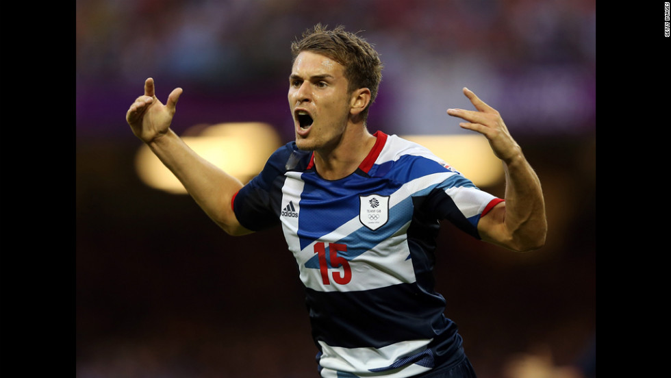 Aaron Ramsey of Great Britain reacts during the men's football first round group A match against Uruguay in Cardiff.