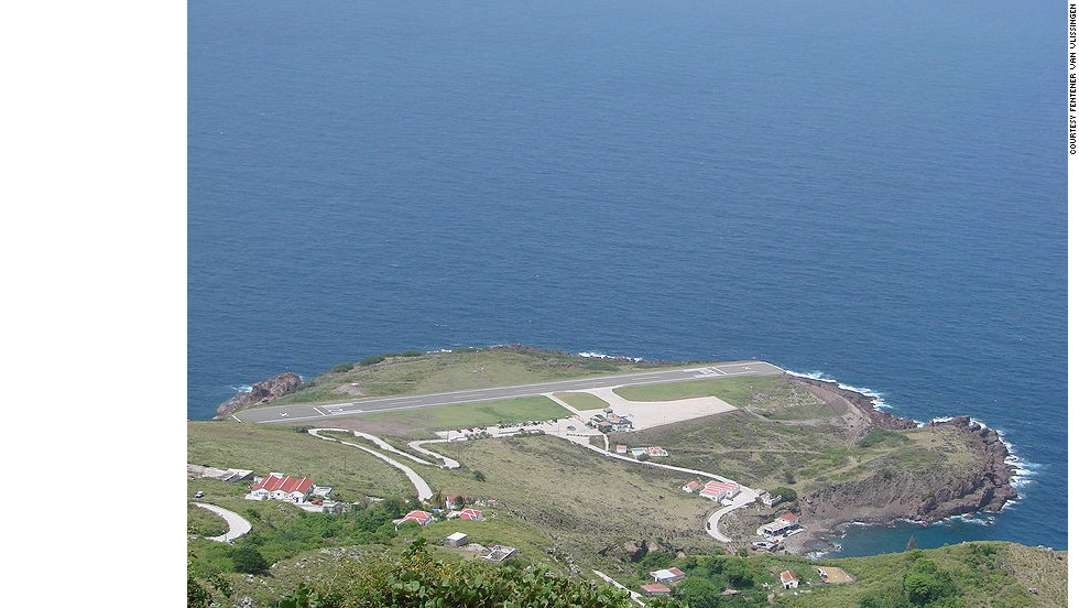 The world's shortest commercially serviceable runway is at Juancho E.Yrausquin Airport on the island of Saba, Netherlands Antilles, in the Caribbean. The runway is just 396 meters (1,300 feet) in length; most aircraft carriers are only slightly longer than this.
