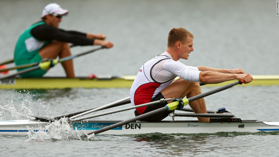 Henrik Stephansen of Denmark rows in the men's single sculls semi-final meet on Wednesday.