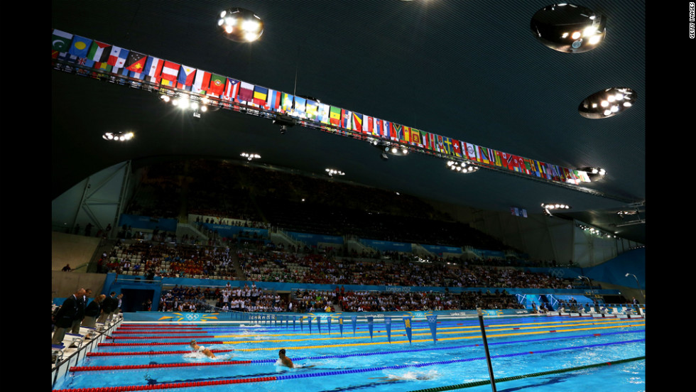 A general view of the pool during the night session of swimming at the Aquatics Centre in London.