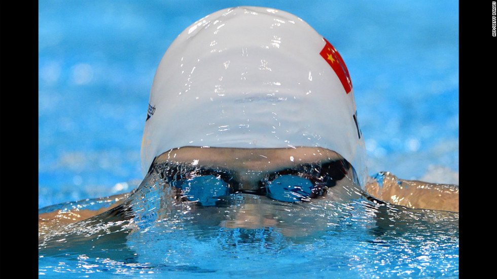 Gold medalist Ye Shiwen of China competes in the women's 200-meter individual medley final.