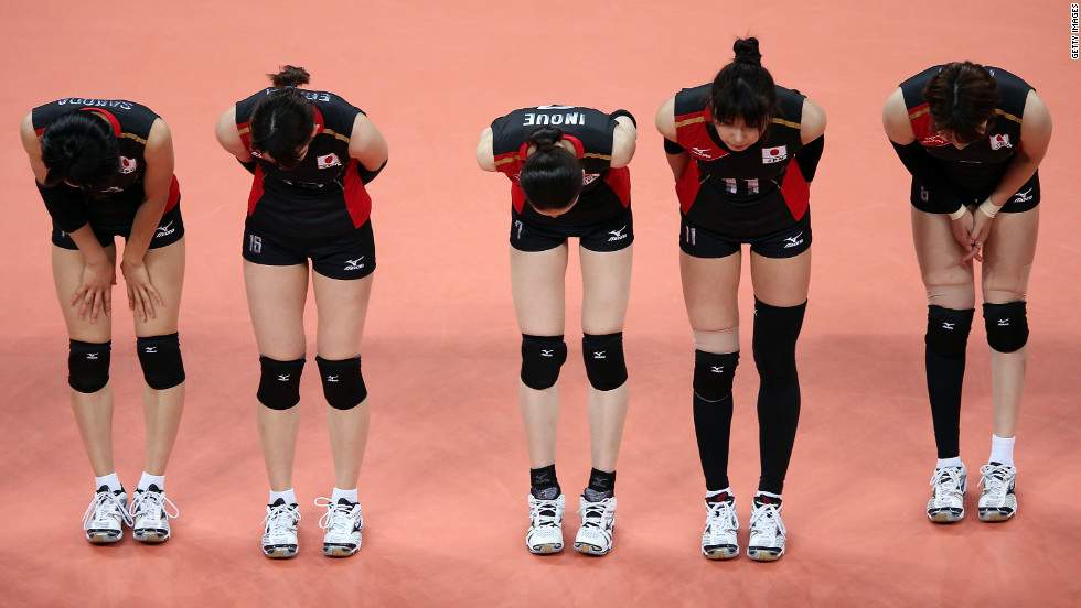 Team Japan bows to the fans after beating the Dominican Republic in women's volleyball Wednesday.