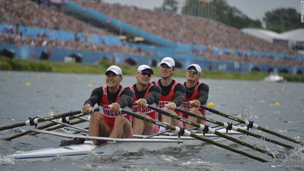 Team Russia competes in the men's quadruple sculls semifinal rowing event Wednesday.