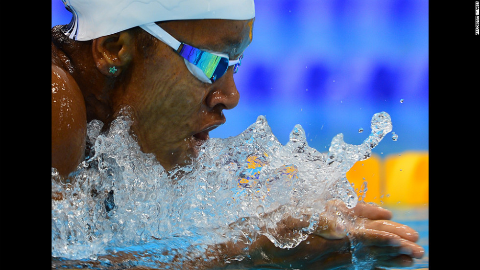 Jamaica's Alia Atkinson swims in a women's 200-meter breaststroke heat Wednesday.