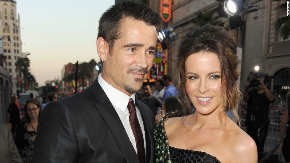 "Colin Farrell and Kate Beckinsale arrive at the ""Total Recall"" premiere in Hollywood, California."