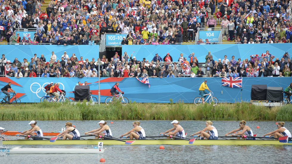 The U.S. team competes to win the gold medal in the women's eight final rowing event.
