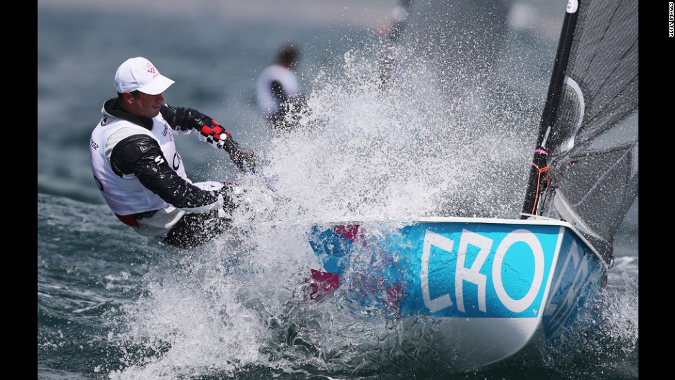 Ivan Kljakovic Gaspic of Croatia competes in the men's Finn sailing on Day 6 of the London 2012 Olympics.