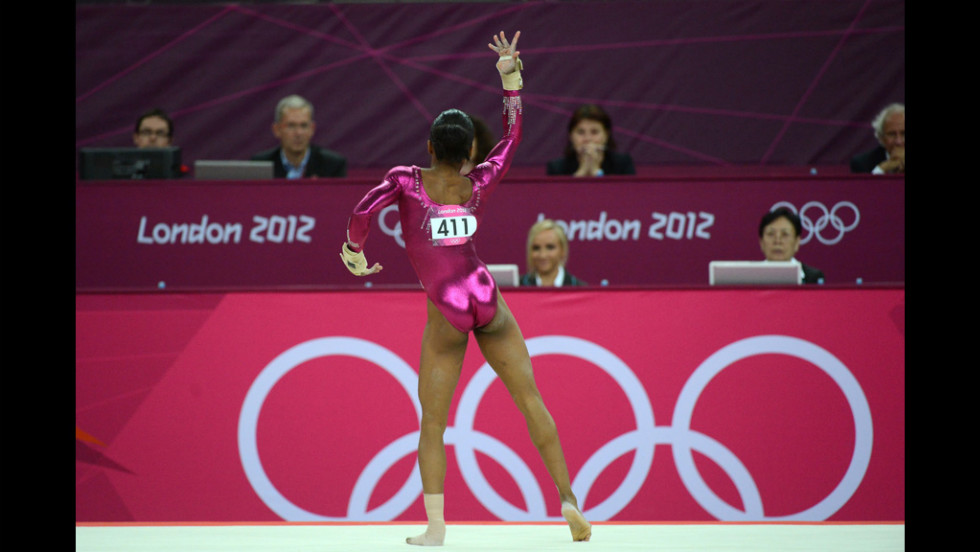 American Gabrielle Douglas performs in front of the judges during her the individual all-around gymnastics final on Thursday.