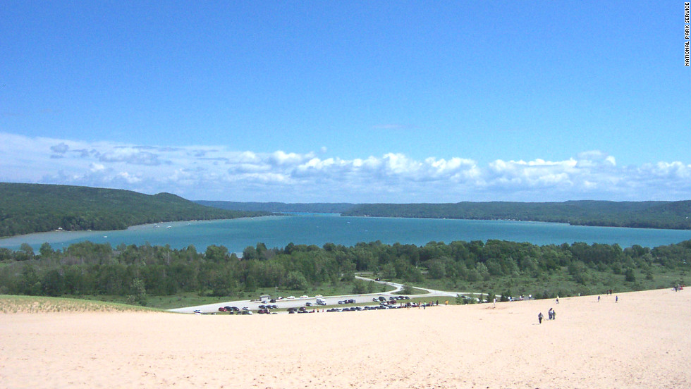 Those willing to hike the dunes at Sleeping Bear Dunes National Seashore will find Glen Lake on the other side.