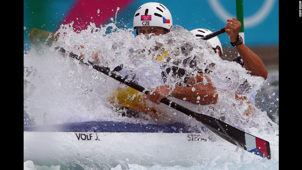 Jaroslav Volf, left, and Ondrej Stepanek of Czech Republic compete during the men's canoe double slalom.