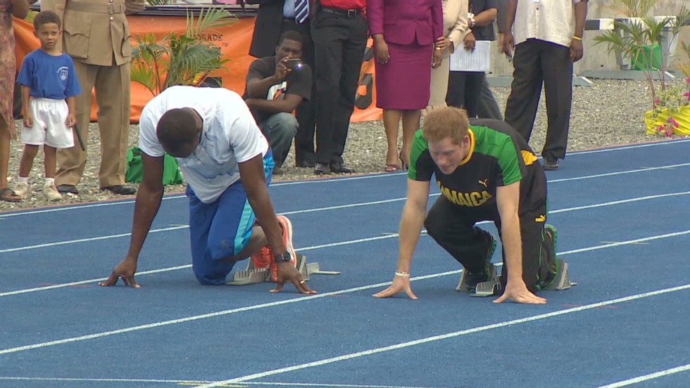Prince Harry is in trouble over what appears to be naked photos of him in Las Vegas. Mostly the prince has been in the spotlight for performing his royal duties. Here, in the buildup before the London Olympics, Prince Harry prepares to run a mock race against Usain Bolt.
