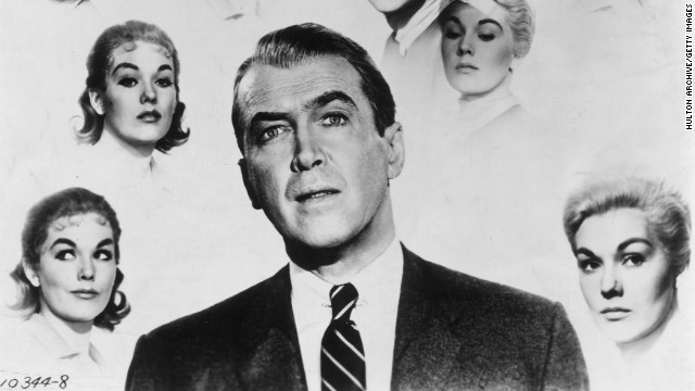 "Film stars James Stewart and Kim Novak as they appear in Alfred Hitchcock's 1958 movie ""Vertigo"""