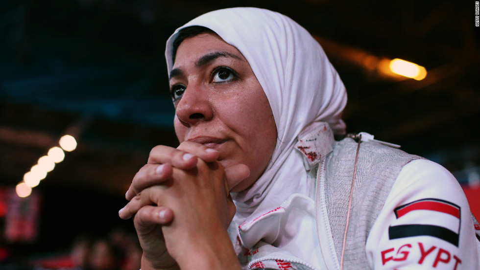 Shaimaa Elgammal of Egypt watches from the sidelines during a women's foil team fencing round against Great Britain on Thursday.