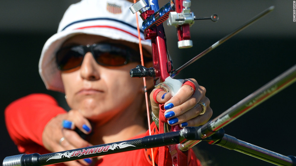 Khatuna Lorig of the United States takes a shot in the women's individual 1/8 elimination archery event.