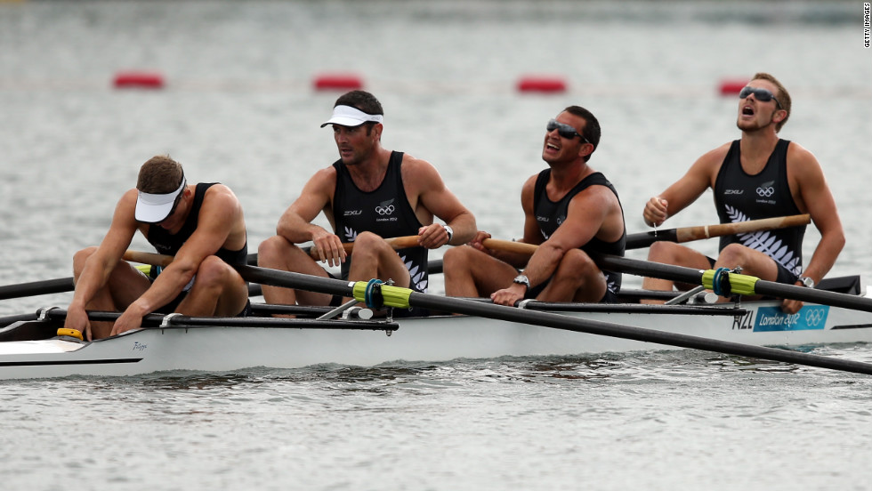 New Zealand's Chris Harris, Sean O'Neill, Jade Uru and Tyson Williams react after finishing the men's four semifinal rowing event in Windsor, England.