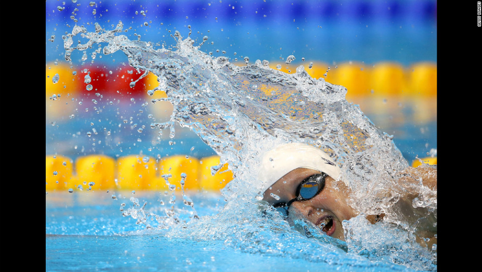 Katie Ledecky of the United States competes in a women's 800-meter freestyle heat.