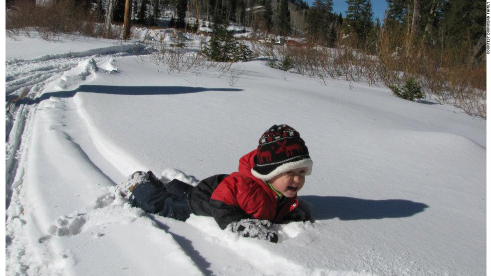 Patrick enjoys some fresh snow in February.