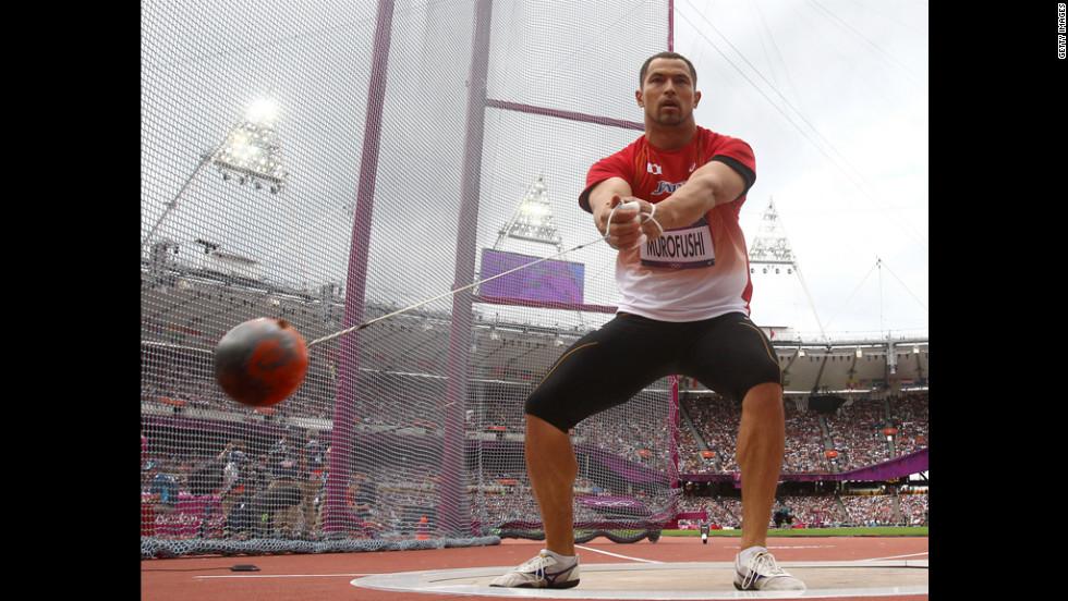 Koji Murofushi of Japan in action during the men's hammer throw qualification.
