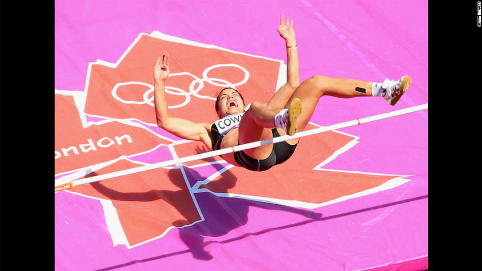 Sarah Cowley of New Zealand competes in the women's heptathlon high jump.