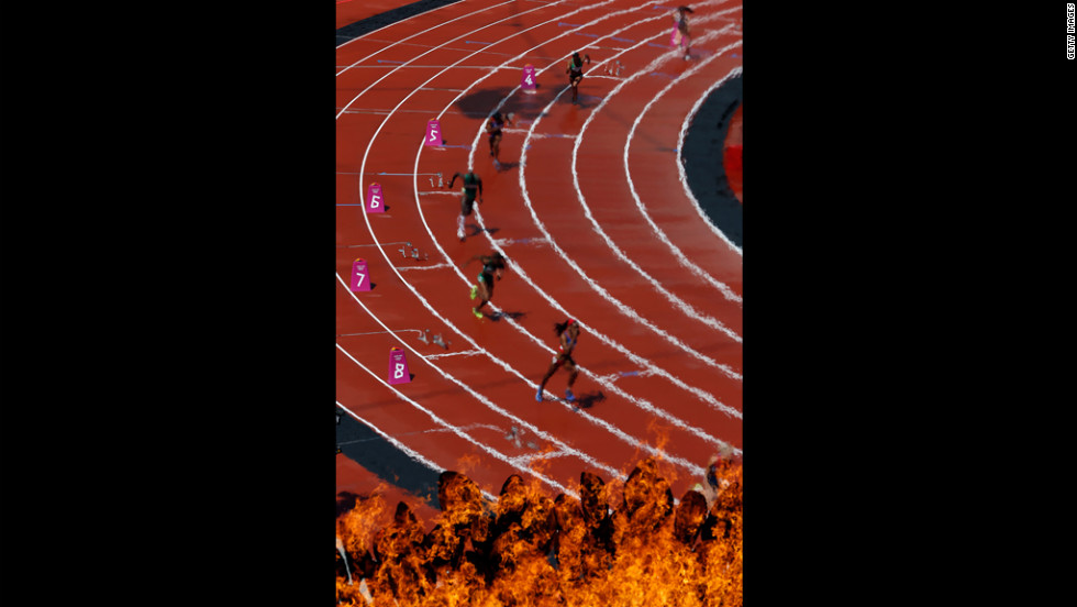 Athletes compete in the women's 400-meter heats at Olympic Stadium.