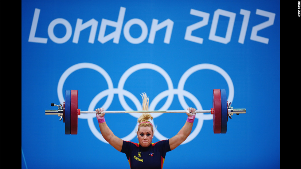 Lidia Valentin Perez of Spain competes in the women's 75-kilogram weightlifting final.