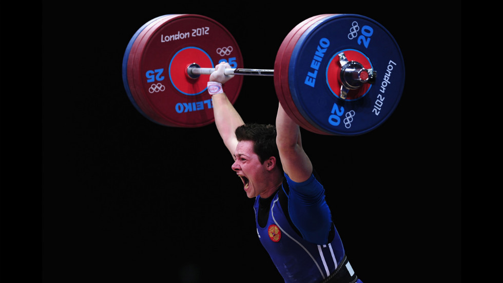 Russia's Natalya Zabolotnaya competes in the women's 75-kilogram weightlifting final.
