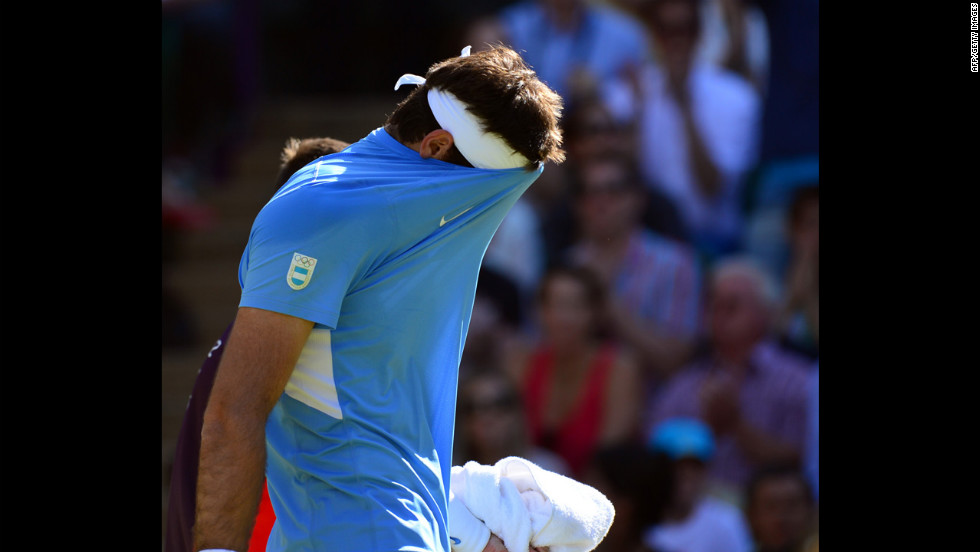 Argentina's Juan Martin del Potro reacts after his singles semifinal match against Switzerland's Roger Federer.