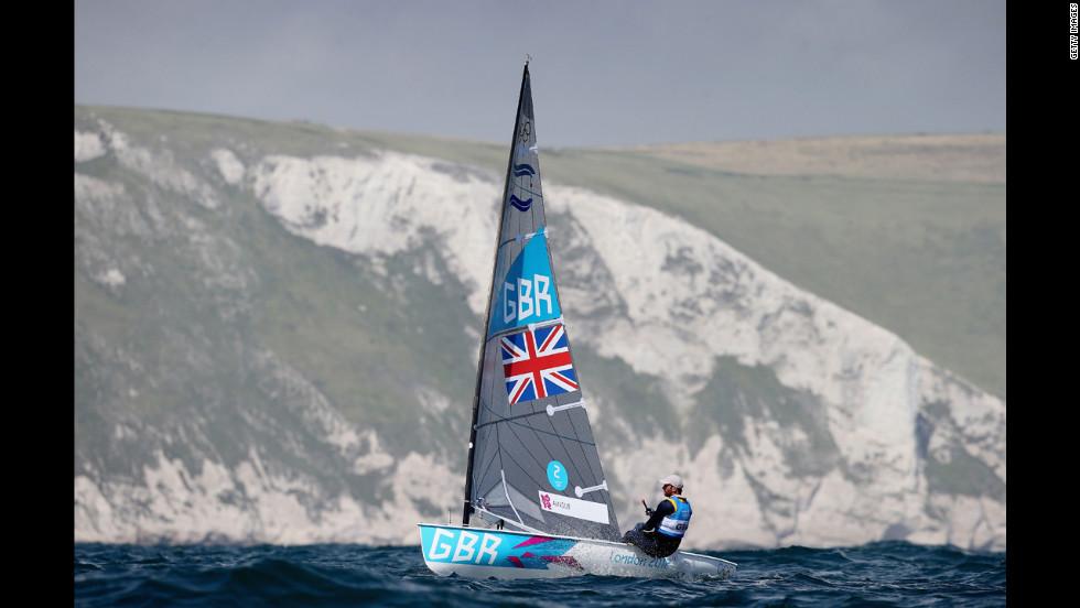 Britain's Ben Ainslie competes in the men's Finn sailing.