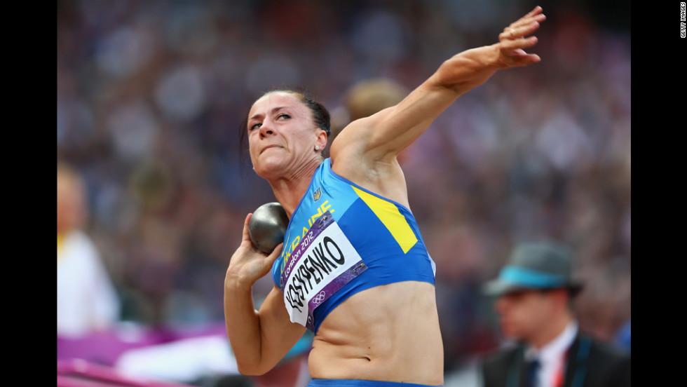 Lyudmyla Yosypenko of Ukraine competes in the women's heptathlon shot put on on Friday.