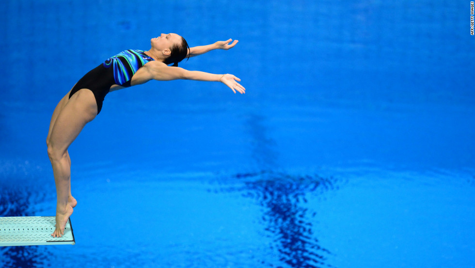 Russia's Nadezda Bazhina competes in the preliminary round of the women's 3-meter springboard diving event on Friday.
