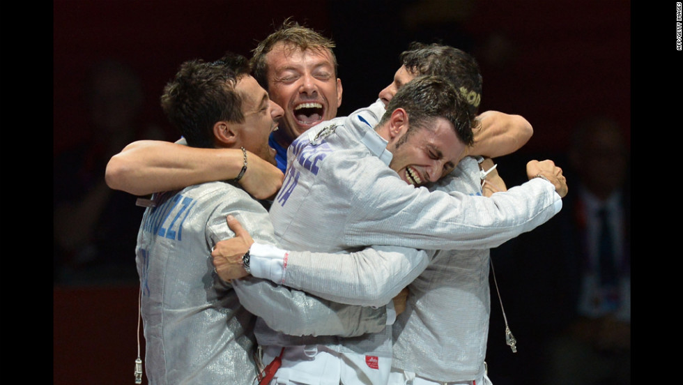 Italy's Aldo Montano and teammates celebrate winning the bronze medal after the men's sabre bronze medal match against Russia on Friday.