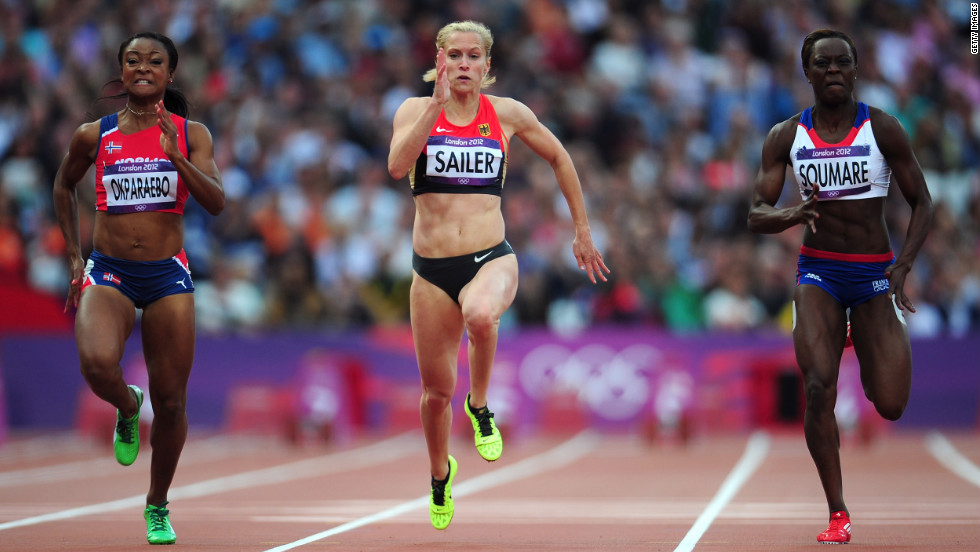 From left, Ezinne Okparaebo of Norway, Verena Sailer of Germany and Myriam Soumare of France compete in the women's 100-meter on Friday.