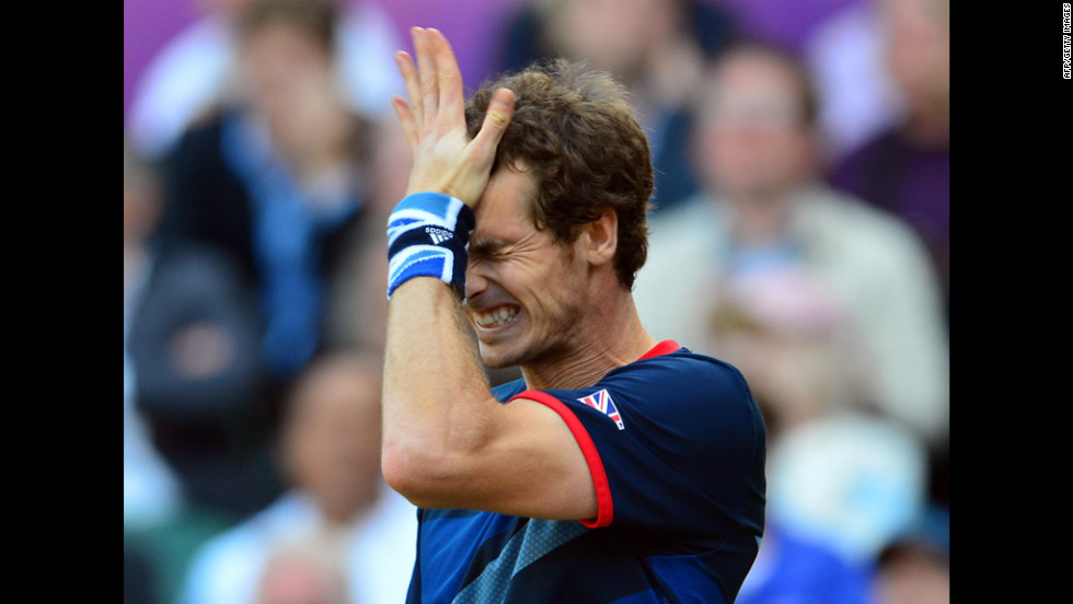 Britain's Andy Murray reacts during his men's singles semifinal round match against Serbia's Novak Djokovic on Friday.